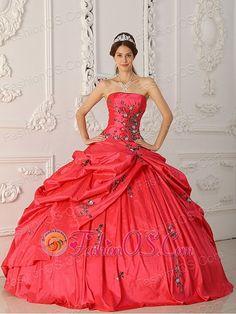 Popular red quinceanera dress strapless 2013 summer