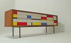 Design a'la Mondrian, długa komoda, sideboard by modernista_pl