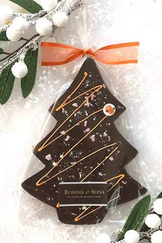 Orange Crackle TM Christmas Tree - Darkly delicious, Belgian dark chocolate infused with natural Valencian orange oil and topped with fruity candy nibs for bursts of flavour - Homemade Chocolate Bars, Dark Chocolate Orange, Luxury Chocolate, Artisan Chocolate, Christmas Chocolate, Chocolate Gifts, Chocolate Molds, Orange Christmas Tree, Xmas