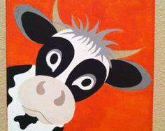 Hübsch Peekaboo Kuh...Handgemalt Acryl-Malerei auf Leinwand.. denn Kinder Kinderzimmer oder Spielzimmer... ...auf einem 12 x 12-Canvas