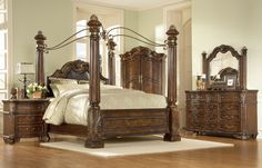 A.R.T. Home Furniture 4 piece Regal Poster Bed Bedroom Set, Medium Cherry