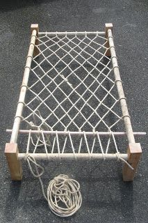 Rope Beds: Take 2 With a link for a pdf to how to make the rope bed and also a link for a pdf for making a straw mattress.