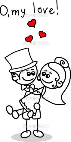 Schattig liefde, de bruid en bruidegom - Stockillustratie: 13983700
