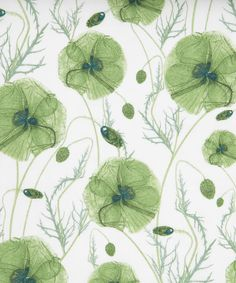 Liberty Art Fabrics: Hannah's Poppy D Tana Lawn. Designed by Rachel Pedder-Smith, known for her unique and striking botanical illustrations.