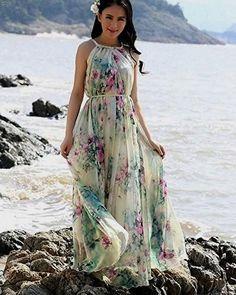 8c2a27b735f5 Summer Chiffon Boho Beach Maxi Dress With Removable Flower Sash