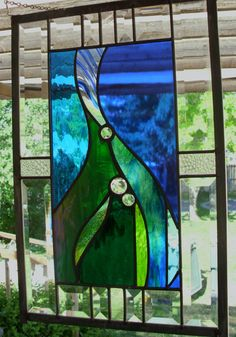 Abstract Wind & Water  Beveled Stained Glass Window by rneely, $129.00