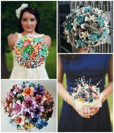 Exemples de bouquet de mariée en origami / Origami wedding bouquets