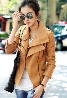 Double-Collars PU Leather Jacket (Brown)