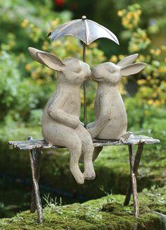 Bunnies on a Bench - Charleston Gardens® - Home and Garden Collection Classic Amazing Gardens, Beautiful Gardens, Charleston Gardens, Bunny Art, Garden Statues, Garden Sculptures, Plantation, Garden Ornaments, Yard Art