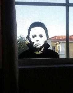 MICHAEL MYERS Halloween Vinyl Wall Sticker this would scare the bejesus out of me[even if i was the 1 who put it there] Halloween Vinyl, Halloween Movies, Halloween Horror, Scary Movies, Fall Halloween, Halloween Crafts, Halloween Decorations, Halloween Party, Halloween 2020