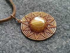 Sun pendant with stone no holes - How to make wire jewelery 233 - YouTube