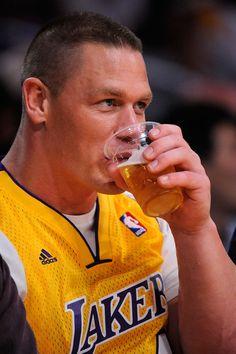 John Cena enjoying Lakers vs Nuggets
