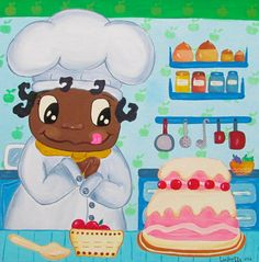 Niño cocinero niño pastelero pequeño pastelero el por LaninetteArt