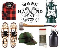 winter, winter camping, cabin, cabin camping, tartan shirt, tartan cap, Kerosene Lantern, axe, snow shoes, wool socks, ceramic growler, work hard and stay humble