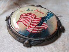vintage button with american flag god bless america patriotic 4th of july americana pendant finding