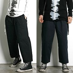 Remember Click Wide Leg Ankle Pants BLACK NAVY ONE SIZE Korean Wear #RememberClick #CasualPants
