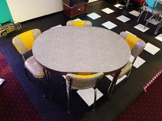 Oval Yellow and Gray Cracked Ice Dinette Set Kitchen Dinette Sets, Ice, Gray, Retro, Yellow, Table, Furniture, Home Decor, Decoration Home