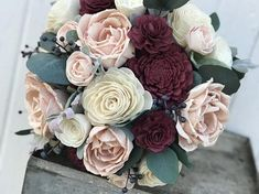 Blush and burgundy wedding bouquet, Sola wood flowers, eco flowers Unique wedding bouquet full of natural sola wood flowers. The wooden flowers are hand dyed in shades of pale blush pinks and deep rich burgundy. Navy blue berries and dark green eucalyptus finish off this forever