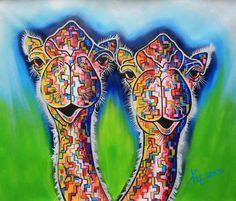 Kunst deur de and olifanten on pinterest - Kleuren die zich vermengen met de blauwe ...