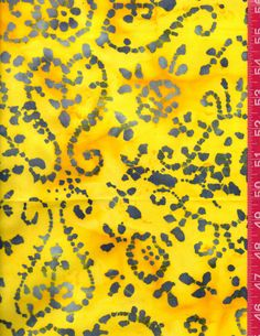 Batik Fabric Unique Design in Yellow and Gray Scroll Swirls Sun Heart Flower Cotton Sewing Quilting Craft Fabric Fat Quarter