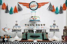 Boys Vintage Race Car Theme Birthday Party Dessert Table