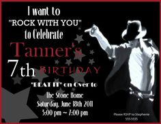 Michael Jackson Invitation 10th Birthday Parties 8th Party Themes Free