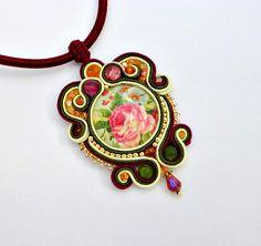 Vintage Rose Soutache Necklace