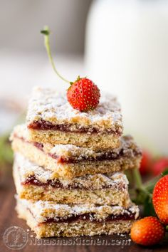 Russian Strawberry Cookie Bars