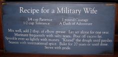Poems About Military Spouses   Recipe for a Military Wife Handcrafted Solid Pine Sign Old Glory ...