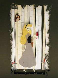 I Wonder. Aurora Paper Sculpture My favourite Disney princess! Font Disney, Disney Love, Disney Art, Paper Artwork, 3d Paper Art, Disney Sleeping Beauty, Paper Illustration, Disney Crafts, Oeuvre D'art