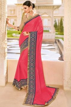 Embroidered Fancy Georgette Saree with Lace Border In Pink
