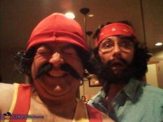 Cheech and Chong. Pay homage to one of the best duos to ever grace the silver screen! Needed: Yellow tank top, red suspenders, red beanie, tan pants, jeans, denim shirt, red bandana and mustaches. Optional: gigantic blunt made from toilet paper roll and white fabric. #halloween #couplescostumes