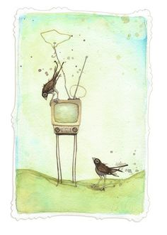 """""""I'm Sure It Means Us No Harm"""" by Leontine Greenberg #art #birds"""
