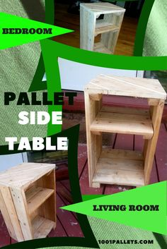 I built this multi-use Pallet Side Table with the idea that it could be used in any room. It would work well with a bed that isn't too tall.