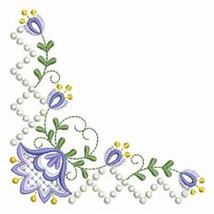 Sweet Heirloom Embroidery Design: Candlewick Jacobean Flower Corners 3.86 inches H x 3.86 inches W