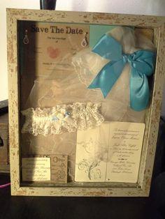 Wedding shadow box with invitation, save the date, veil, etc.