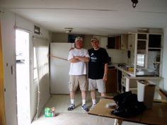Pat McKinney and Jim Suva in the Kitchen area of the trailer.