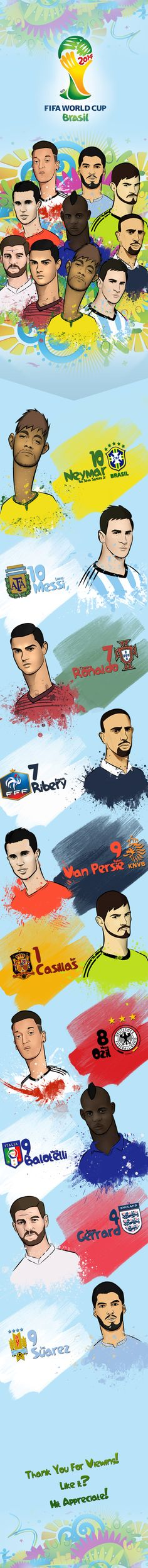FIFA World Cup 2014 - Players by Armand Mamonong, via Behance