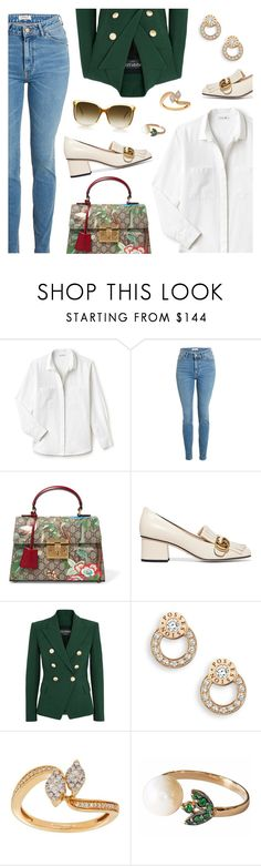 """""""Outfit of the Day"""" by dressedbyrose ❤ liked on Polyvore featuring Lacoste, Gucci, Balmain, Piaget, Lord & Taylor, Steven Alan, ootd and polyvoreeditorial"""