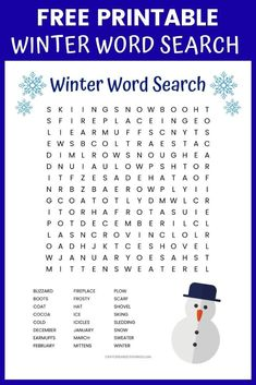 Winter word search printable worksheet with 24 Winter themed vocabulary words. Winter Word Search, Kids Word Search, Christmas Word Search, Free Printable Worksheets, Worksheets For Kids, Free Printables, Holiday Words, Christmas Words, Winter Activities For Kids