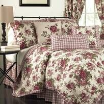 Royal Heritage Home Williamsburg Abby Ivory/White/Green Standard Cotton Reversible Traditional 4 Piece Comforter Set & Reviews | Wayfair Queen Bedding Sets, Comforter Sets, King Comforter, Country Bedding Sets, Red Bedding Sets, Bedding Master Bedroom, Bedroom Decor, Ikea Bedroom, Bedroom Black