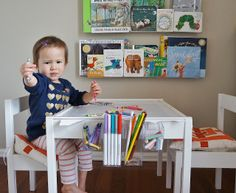 Super smart IKEA table hack that transforms the cheap table/chair set into an art studio. SO SMART!