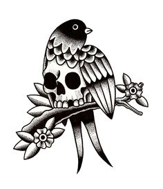 SKULLY LA LA BIRD      TATTOO