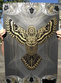 "Chris Saunders, ""Gold Owlage Serigraph"""