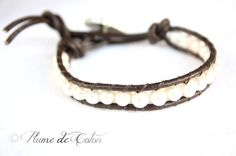 Fresh water pearl beads leather wrap bracelet