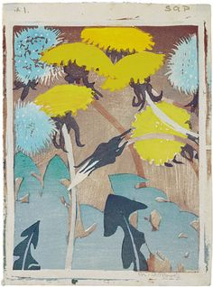 Mabel A. Royds  (English, 1874-1941)  Dandelions   Color woodblock print.