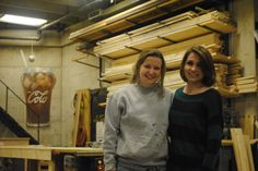 Kiah Kayser, left, and Christina Holaday take a break from working in the Fisher Theater scene shop. Kayser and Holaday won top awards in stage managing and student directing at the regional Kennedy Center American College Theatre Festival in Lincoln, Neb., in January, and they will represent the Iowa State University Theater Department in Washington, D.C., in April. Photo by Julie Ferrell/Ames Tribune