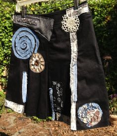 black pleated skirt denim steampunk hippie by SewUnruly on Etsy
