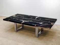 David Alan Collection   Petrified Wood Coffee Table With Stainless Steel  Base, Brushed Finish.