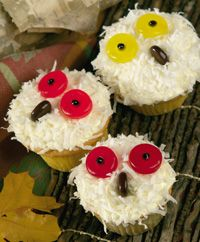 Snowy Owl Cupcakes- just the yellow eyes though Owl Cupcakes, Cute Cupcakes, Cupcake Cookies, Edible Crafts, Edible Food, Edible Art, Owl Snacks, Cupcake Recipes, Cupcake Ideas